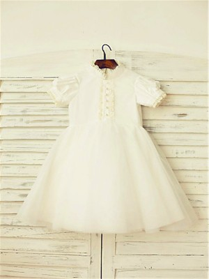 A-line/Princess High Neck Short Sleeves Lace Tea-Length Tulle Little Girl Dresses
