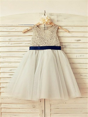 A-line/Princess Scoop Sleeveless Lace Tea-Length Tulle Little Girl Dresses