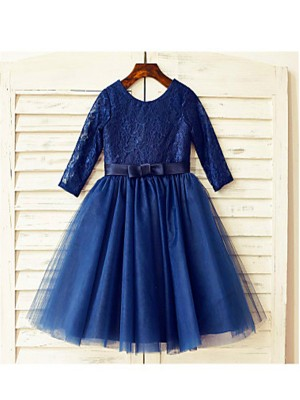 A-line/Princess Scoop Long Sleeves Lace Tea-Length Tulle Little Girl Dresses