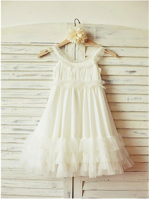 Princess Straps Sleeveless Ruffles Tea-Length Chiffon Flower Girl Dresses