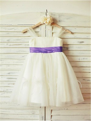A-line/Princess Straps Ruffles Tea-Length Tulle Flower Girl Dresses