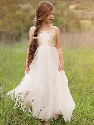A-Line/Princess Scoop Sleeveless Floor-Length Sequin Tulle Flower Girl Dresses