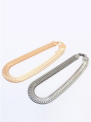 Occident Personality Metallic thick chains Short Necklace