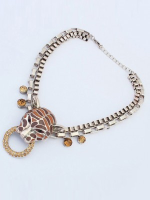 Occident Personality Metallic Leopard Punk Necklace
