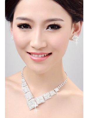 Nice Alloy Clear Crystals Wedding Necklaces Earrings Set