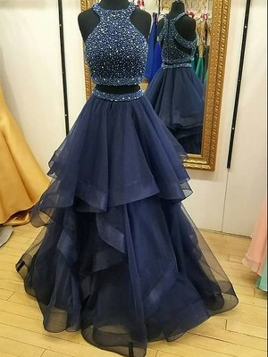 A-Line/Princess Sleeveless Floor-Length Halter Tulle Beading Two Piece Dresses