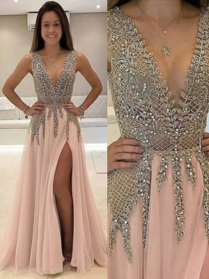 Sexy A-Line/Princess Sleeveless V-Neck Sweep/Brush Train Beading Tulle Dresses