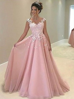 A-Line/Princess Sweetheart Sleeveless Floor-Length Applique Tulle Dresses