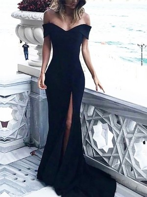 Sheath Off-the-Shoulder Sleeveless Court Train With Ruched Spandex Dresses