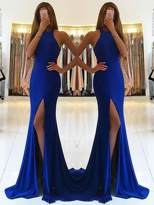 Sheath Halter Sleeveless Sweep/Brush Train With Ruffles Spandex Dresses