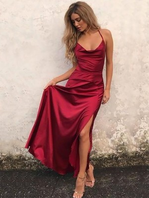 A-Line Spaghetti Straps Sleeveless Elastic Woven Satin Floor-Length With Ruffles Dresses