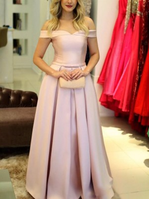 A-Line Sleeveless Off-the-Shoulder Floor-Length With Ruffles Satin Dresses