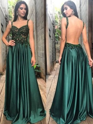A-Line/Princess Straps Sleeveless Floor-Length With Applique With Ruched Satin Dresses