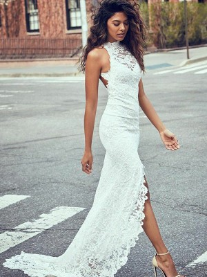Trumpet/Mermaid Halter Sleeveless Sweep/Brush Train Lace Wedding Dresses