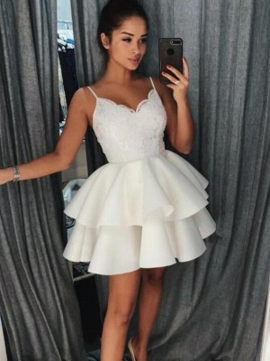 A-Line Spaghetti Straps Satin Ruffles Sleeveless Short/Mini Dresses
