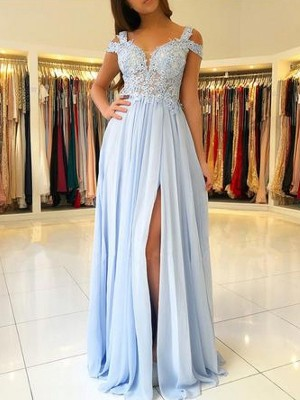 A-Line/Princess Off-the-Shoulder Sleeveless Applique Chiffon Floor-Length Dresses
