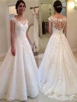 A-Line/Princess Scoop Sleeveless Lace Tulle Sweep/Brush Train Wedding Dresses