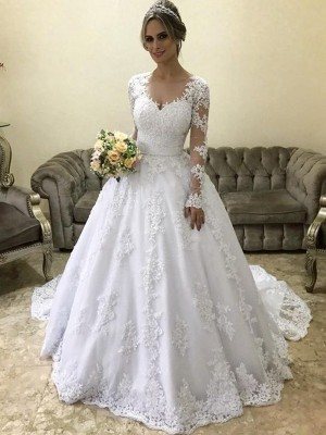 Ball Gown V-neck Long Sleeves Court Train Applique Satin Wedding Dresses