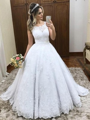Ball Gown Scoop Sleeveless Lace Satin Sweep/Brush Train Wedding Dresses