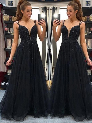 A-Line Tulle Spaghetti Straps Sleeveless Beading Long Formal Evening Dress