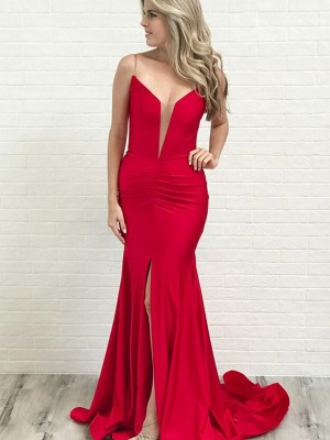 A-Line Spaghetti Straps Court Train Ruched Satin Sleeveless Dresses