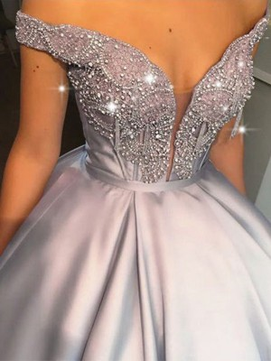 Ball Gown Beading Off-the-Shoulder Satin Sleeveless Long Dresses