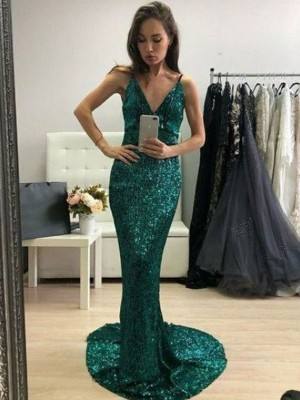 Mermaid/Trumpet Sequins V-neck Ruffles Sweep/Brush Train Sleeveless Dresses