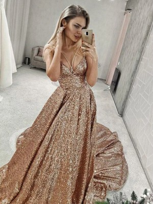 A-Line Sequins Spaghetti Straps Ruffles Sleeveless Court Train Dresses