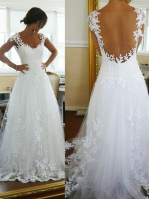 A-Line/Princess V-neck Sweep/Brush Train Lace Sleeveless Tulle Wedding Dress