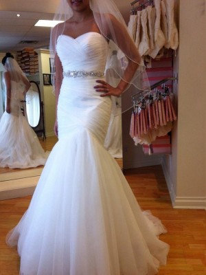 Mermaid Sleeveless Sweetheart Court Train Beading Tulle Wedding Dresses