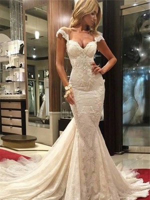 Trumpet Sleeveless Chapel Train V-neck Lace Wedding Dresses