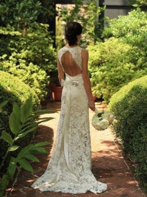 Sheath/Column Lace V-neck Sweep/Brush Train Wedding Dresses