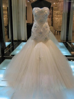 Trumpet/Mermaid Sweetheart Chapel Train Beading Tulle Wedding Dresses