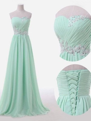 A-Line/Princess Sleeveless Sweetheart Floor-Length Beading Chiffon Bridesmaid Dress