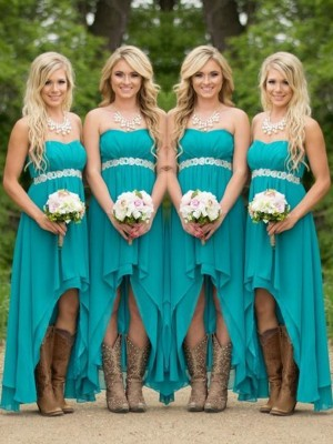 A-Line/Princess Sweetheart Beading Sleeveless Asymmetrical Chiffon Bridesmaid Dress