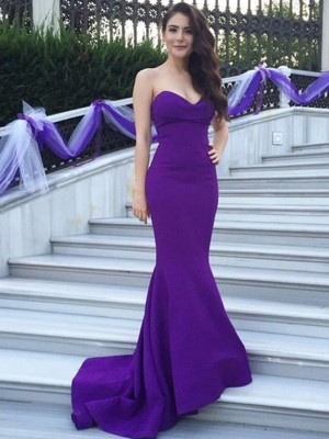 Trumpet/Mermaid Sweetheart Sleeveless Sweep/Brush Train Satin Bridesmaid Dress