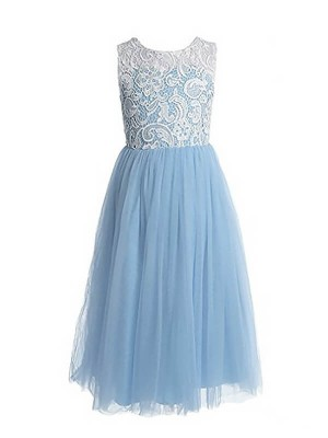 A-Line/Princess Sleeveless Jewel Lace Ankle-length Tulle Flower Girl Dresses