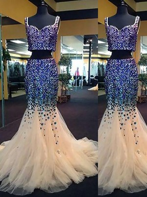 Trumpet/Mermaid Sweetheart Sleeveless Tulle Beading Sweep/Brush Train Two Piece Dresses