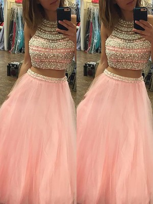 A-Line/Princess Sleeveless Tulle Floor-Length Halter Beading Two Piece Dresses