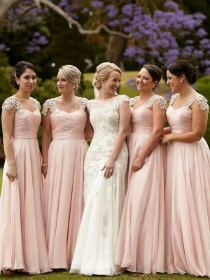 A-Line/Princess Short Sleeves Square Chiffon Floor-Length Beading Bridesmaid Dress