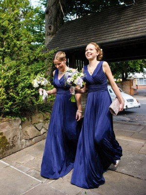 A-Line/Princess V-neck Chiffon Floor-Length Pleats Bridesmaid Dress