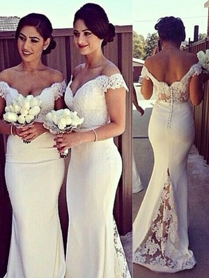 Trumpet/Mermaid Sleeveless Carmen Neckline Lace Satin Sweep Dresses