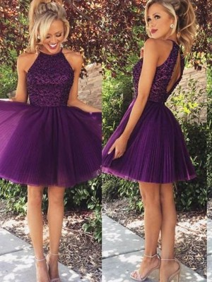 A-Line/Princess Tulle Halter Sleeveless Short/Mini With Beading Dresses