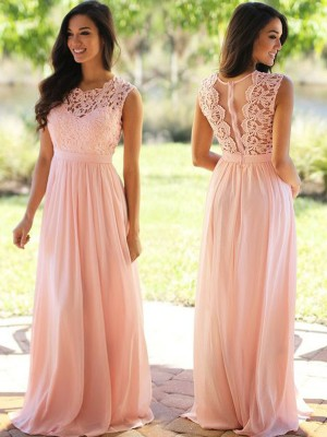 A-Line Scoop Sleeveless Applique Floor-Length Chiffon Dresses