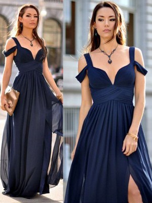 A-Line/Princess Floor-Length Sleeveless Straps Chiffon Bridesmaid Dress