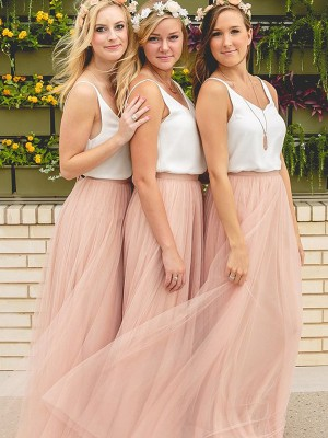 A-Line/Princess Sleeveless V-neck Floor-Length Tulle Bridesmaid Dress