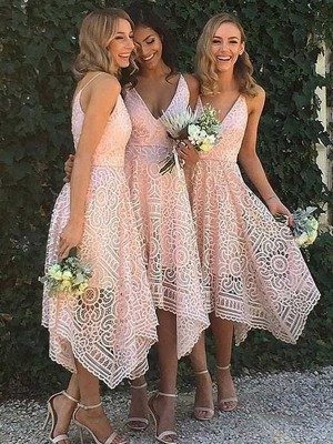 A-Line/Princess Sleeveless V-neck Asymmetrical Lace Bridesmaid Dress