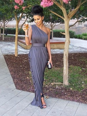 Sheath/Column One-Shoulder Sleeveless Floor-Length Jersey Bridesmaid Dress