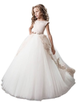 Ball Gown Scoop Tulle Floor-Length Applique Sleeveless Flower Girl Dresses