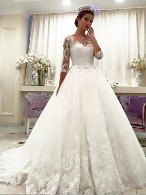 Ball Gown Tulle 3/4 Sleeves Bateau Lace Court Train Wedding Dresses